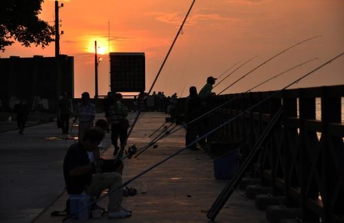 cijin island, ferry, barco, love pier, love river, kaohsiung, taiwan, formosa, rascacielos, skyscraper, skyline, sky tower 85, fishing, pescando